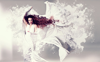 woman with white splash-dress/fashion 06_3