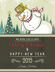 christmas background with snowman,  vector illustration