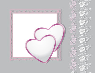 Greeting background with hearts and decorative roses