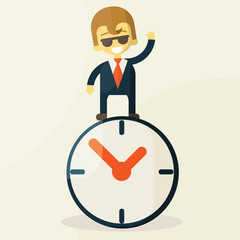 Businessman  with time, business concept in busy and hard