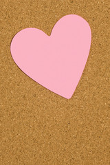 Pink Valentine Postit Note On Office Corkboard