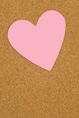 Pink Valentine Postit Note On Office Corkboard