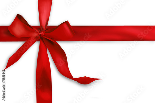 Red gift ribbon on white background - 71953442