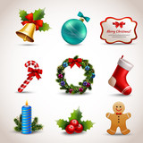 Fototapety Christmas icons set
