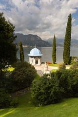 Gardens of Villa Melzi with tea house, Lake Como, Italy
