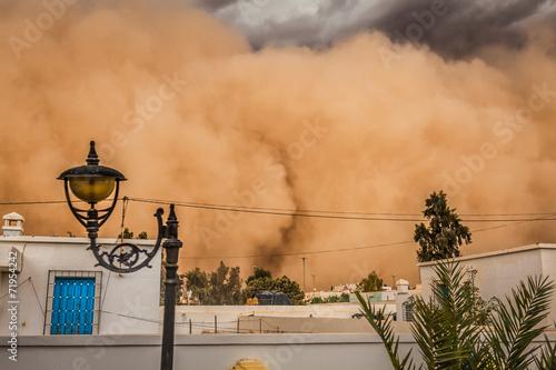 Poster Tunesië Sandstorm in Gafsa,Tunisia