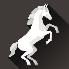 Background with horse standing in flat style.