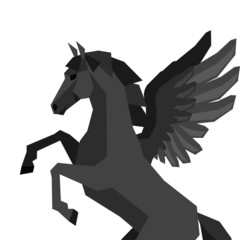 Background with horse pegasus in flat style.