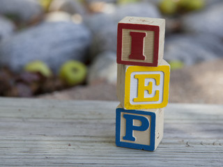 Indivualized Education Plan (IEP) alphabet blocks