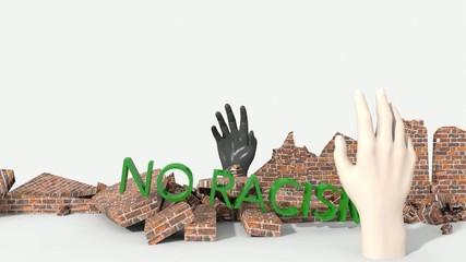 Muro che crolla sotto no razzismo