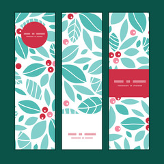 Vector christmas holly berries vertical banners set pattern