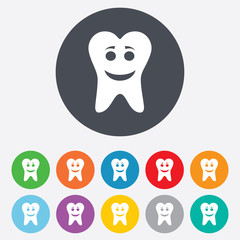 Tooth happy face sign icon. Healthy tooth