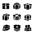 Gift box black and white icons set