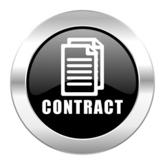 contract black circle glossy chrome icon isolated