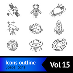 Space Icons Outline Set