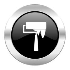 brush black circle glossy chrome icon isolated