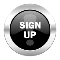 sign up black circle glossy chrome icon isolated