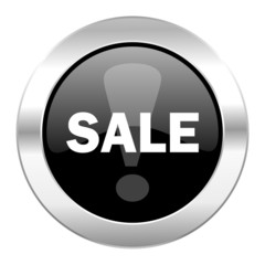 sale black circle glossy chrome icon isolated