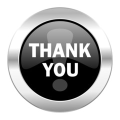 thank you black circle glossy chrome icon isolated