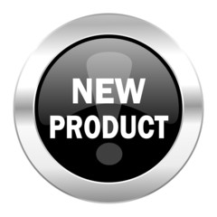 new product black circle glossy chrome icon isolated