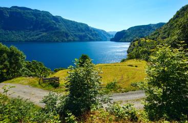 Summer mountain lake Suldalsvatnet (Norway)