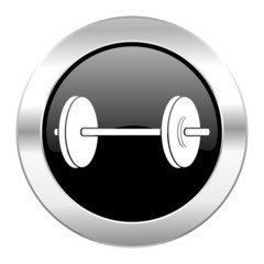 fitness black circle glossy chrome icon isolated