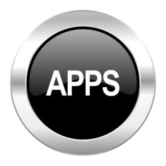 apps black circle glossy chrome icon isolated