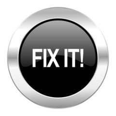 fix it black circle glossy chrome icon isolated
