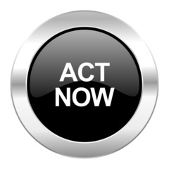 act now black circle glossy chrome icon isolated