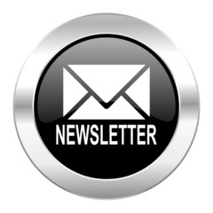 newsletter black circle glossy chrome icon isolated
