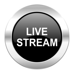 live stream black circle glossy chrome icon isolated