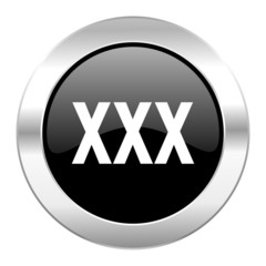 xxx black circle glossy chrome icon isolated