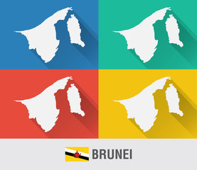 Brunei world map in flat style with 4 colors.