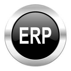 erp black circle glossy chrome icon isolated
