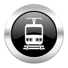 train black circle glossy chrome icon isolated
