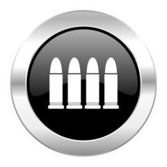 ammunition black circle glossy chrome icon isolated