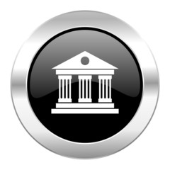 museum black circle glossy chrome icon isolated