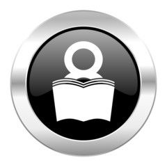 book black circle glossy chrome icon isolated