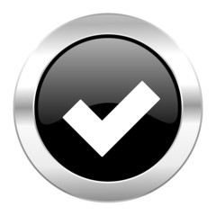 accept black circle glossy chrome icon isolated
