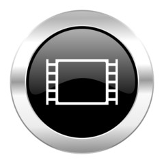 movie black circle glossy chrome icon isolated