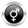 sex black circle glossy chrome icon isolated