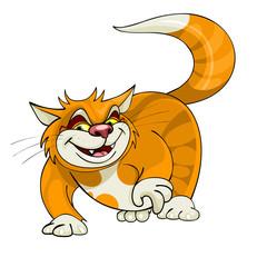 cartoon yellow cat walks