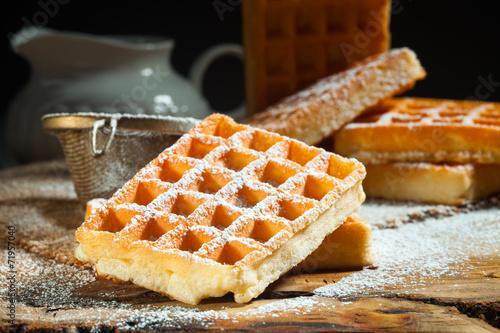 waffles with powdered sugar - 71957040