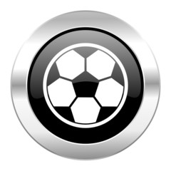 soccer black circle glossy chrome icon isolated