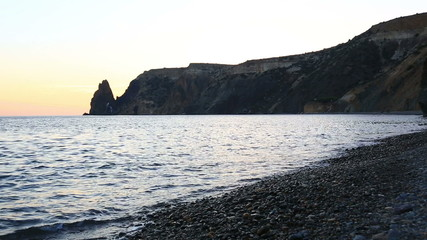 Yakhontovy beach near the cape Fiolent in the evening,  Crimea
