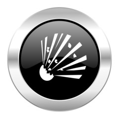 bomb black circle glossy chrome icon isolated