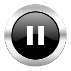 pause black circle glossy chrome icon isolated