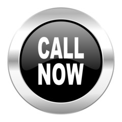 call now black circle glossy chrome icon isolated