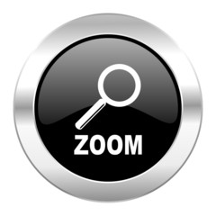 zoom black circle glossy chrome icon isolated