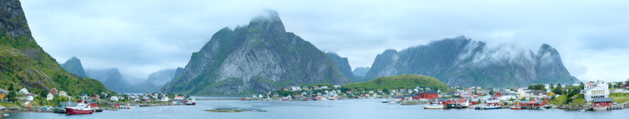 Summer village Reine panorama (Lofoten, Norway).